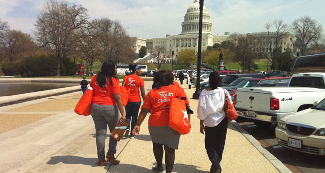 Choice USA teens walking to Capitol